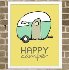 Happy Camper - Illustration of Vintage Camper - Typography and Illustration Print - Mustard Yellow and Aqua - Retro Camping and Travel Art.