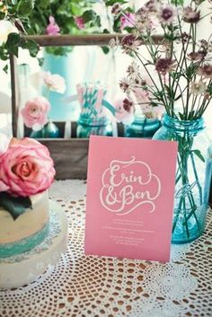 adorable blue jars + pink flowers pink flowers, pastel, tea parti, event idea, inspiration, mop tea, wedding colors, blog, tea party wedding