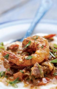 Emeril Lagasse /Smothered Shrimp and Andouille over Stone-ground Grits
