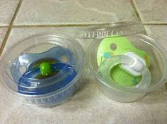 Keep pacifiers clean in your bag with sauce-to-go containers. 33 ingenious ideas for raising babies.