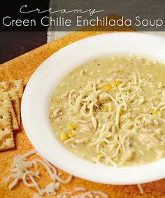 Crock Pot Creamy Green Chile Enchilada Soup