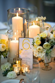 I like the idea of having several centerpieces to make it a little busy... Flowers for the day and candles for the night