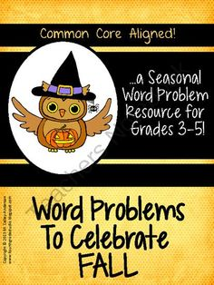 "Seasonal Word Problems:  FALL from Fourth Grade Studio on TeachersNotebook.com (38 pages)  - Another in the series of my popular word problems, this set has a ""Fall"" theme.  Each problem is presented in three formats and has an ""extra"" component for differentiation."
