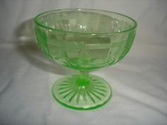 AH GREEN DEPRESSION GLASS CAMEO LOW SHERBET DISH