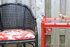 lacquer red bamboo side table with black & gold cane chair and red Chinoiserie Waverly fabric. Beauty! #fabric #homedecor #chinoiserie #temple #pagoda #asian