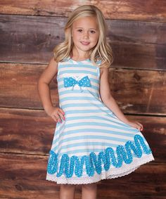 Love this Blue Butterfly Stripe Dress - Infant, Toddler & Girls on #zulily! #zulilyfinds