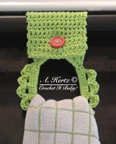 Free Crochet Towel Holder Pattern  http://www.crochetitbaby.com/2/post/2013/07/free-crochet-towel-holder-pattern.html