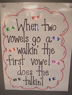 When two vowels go walking...the first one does the talking - Yes! Such a great way to help children understand vowels and pronunciation.
