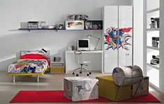 Great Superhero Childs Room Interior Design with Superman Theme