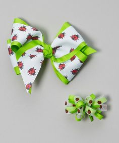 Love this White & Green Ladybug Bow Clip Set by Picture Perfect Hair Bows on #zulily! #zulilyfinds