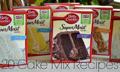 20 Cake Mix Recipes - Lady Behind The Curtain. Strawberry lollipop cookies, snow ball fight cake balls, pb & J cupcakes, almond cherry mini cone cupcakes, pineapple coconut bars, rocky road pie, strawberry lemonade cupcakes, gooey caramel cake, cake batter bday pancakes, apple pecan cream cheese bars, red velvet gooey butter bake, rubber duckie baby shower cupcakes
