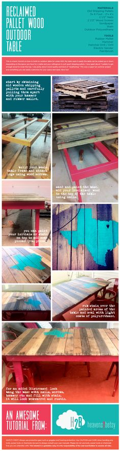 DIY - Outdoor Table from Reclaimed Wood pallets @Michael Dussert Dussert Dussert Dussert Dussert Dussert Choat