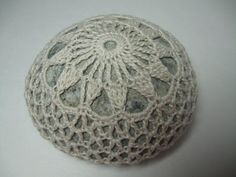 Crochet Art Beach Stone Ecru Off White Sun made by me