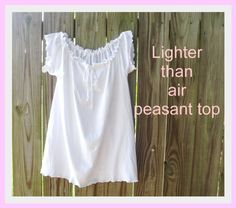 Lighter Than Air Peasant Top....man's t-shirt to a woman's top...I did it with a printed t-shirt