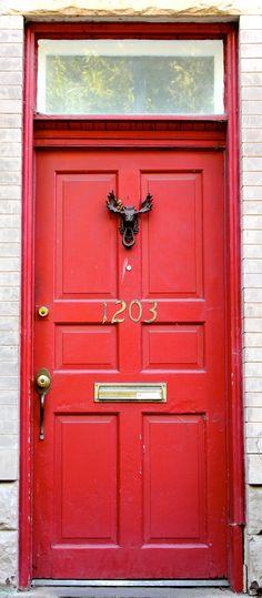 red door + moose doorknocker
