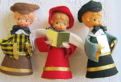 Vintage Christmas Carolers Figures Made in Japan Felt Decorations. $6.75, via Etsy.