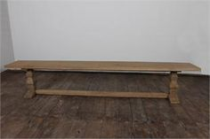 "Provence salvage teak dining bench, an essential French Country piece. 60"" bench $495"