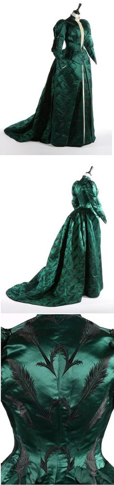 Bottle-green brocaded silk satin gown, by Charles Frederick Worth, French, ca. 1890-93.