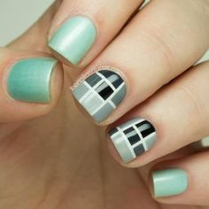 This geometric mod nail design was inspired by fashion designer Louise Alsop and Dutch painter Piet Mondrian. We hope this De Stijl nail art inspires you too! #mani #manicure #nailart