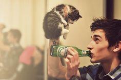 beer + tattoo + cat <3 <3