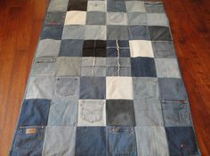 4 Rag Pocket Denim Patchwork Quilt by RedBirdCreations on Etsy