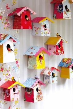 DIY paper birdhouses...color for your wall