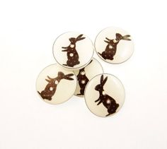 5 Rabbit or Bunny Buttons.  Handmade buttons.  by buttonsbyrobin, $9.99 rabbit, handmad button, bunni button, children button