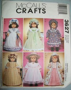 "McCalls 3627 Gowns Historical 18"" Doll Clothes Pattern McCall's"