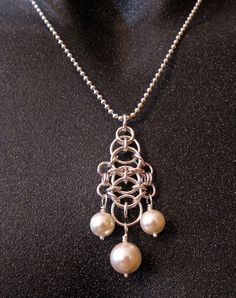 Silver Chainmaille Guinevere Pendant with Pearls by CaptiveRingz