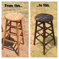 """#DIY refinished bar stool. Paint base with black flat spray paint. If you want peekaboo red and turquoise like shown, paint random brush strokes of each color before you paint with black. Let dry 24 hrs. Take 100 grit sand paper and sand the edges until its distressed """"enough"""". Finish with semi gloss polyurethane and let dry 24 hrs."""
