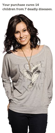 Beautiful light gray, dolman cut women's tee. Saving lives and looking good has never been so easy, has it? --->http://svnly.org/PinLink #DoGood #Inspiration