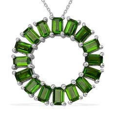 Liquidation Channel:  Russian Diopside Circle Pendant with Chain (20 in) in Platinum Overlay Sterling Silver (Nickel Free)