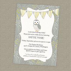 owl banner baby shower invitation gender by freshlysqueezedcards, $13.00