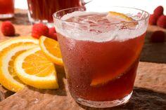 Lambic Sangría -- A fruity, beer-based sangría with raspberries and orange.