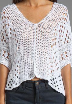 Blusa Branca de Crochet