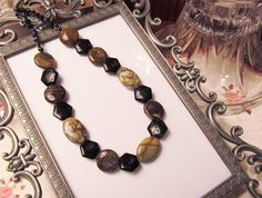Picasso Jasper Snakeskin Agate and Black Shell by #RomanticThoughts, $36.95 #Jewelry #Jasper #agate #Gifts