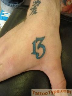 Hand Tattoo Number 13 Michael J Torsky I like this one for the design for the number in my tattoo but different # and place