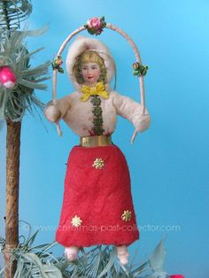Antique Cotton Jump Roping Girl Christmas Ornament