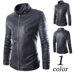 Men Zip Up Slim Fit Black Faux Leather Jacket | Sneak Outfitters
