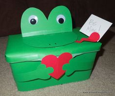 Frog Valentines Day box made from an empty Huggies wipe container