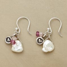 PETAL PEARL EARRINGS--Rose and pink quartz sweeten cultured white petal pearls. Sterling silver heart disks and earwires.