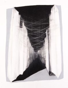 """Galen Cheney - Broken City Series #6, Charcoal and pastel on cotton rag paper, 40""""x 30"""", 2006"""