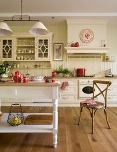 Cream white Kitchen Red Accents-Inspiring Interiors