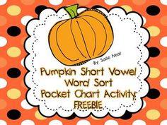 Pumpkin Short Vowel Word Sort Activity- FREE!