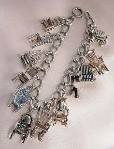 Mini chairs sterling silver charm bracelet-too cute.