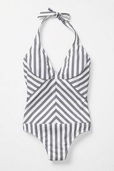 Grey Striped Swimsuit