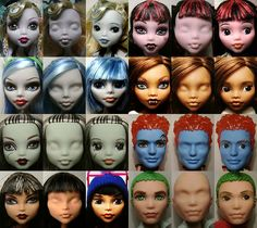 Custom Dolls! So pretty!    Monster High Faces... FINALLY COMPLETED. by kd_230692, via Flickr