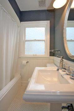 bathroom mirrors, paint colors, hous, greyish blue paint