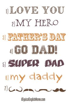 7 Favourite Father's Day Fonts ~    Fonts and mustache dingbats for your Father's Day projects.    Downloads @:  http://www.atypicalenglishhome.com/2013/05/my-7-favourite-fathers-day-fonts.html