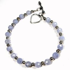Blue Lace #Agate #Bracelet with #Sterling Silver #Heart Toggle Clasp #Handmade by #Covergirlbeads #Jewelry on #ArtFire